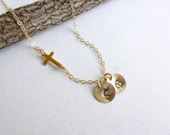 Gold Sideways Cross Initial Necklace  -- Two Personalized Initials -- 14k gold filled