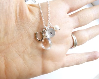 Sterling Silver Horseshoe Birthstone Initial Necklace -- Choose Your Stone -- Personalized Bridesmaids