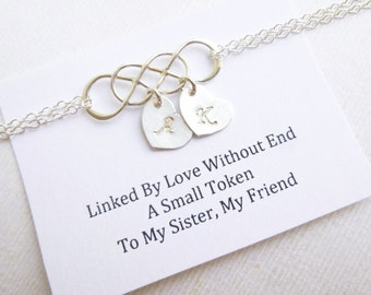 Intertwined Infinity Bracelet with Sentiment Card -- 925 Sterling Silver with Personalized Initials ... Sisters