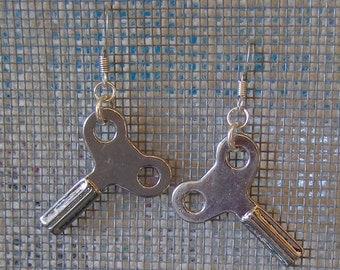 Wind Up Key Earrings