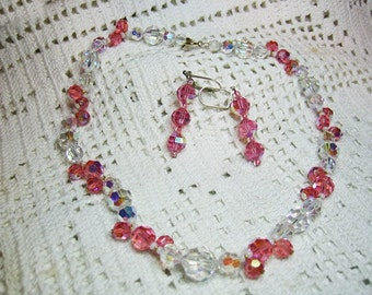 Pink & Clear Faceted Cut Crystal Beaded Necklace Pierced Earrings