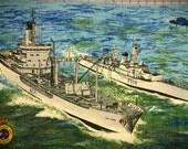 Vintage King George's Fund for Sailors linen tea towel