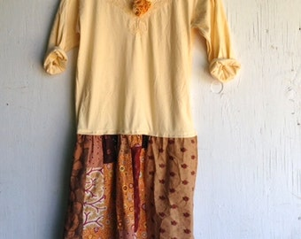 Summer gypsy flowers yellow brown taupe mustard patchwork Pioneer Oregon Trail eco country rodeo Upcycled cowgirl tunic