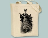 Victorian Bat Lady Fashion Dress Halloween Canvas Tote -- Selection of sizes available
