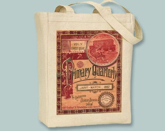 Gorgeous vintage Sunday School Primer Image transferred onto Natural or Black Canvas Tote -- Selection of  sizes available