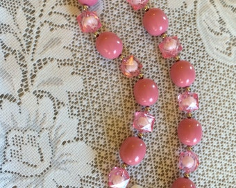TEMPORARILY REDUCED PRICING!!! Pink Necklace with White Flower Pendant