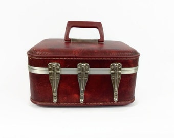 Red hot heavy metal gothic glam train case suitcase with Disneyland stickers
