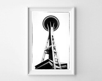 Seattle Art Space Needle Black and White Vertical Wall Art - Monochrome Living Room Decor or Bedroom Decor - Large Wall Art Prints Available