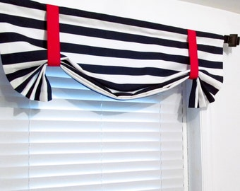 NAUTICAL Tie Up Valance Navy Blue White Red Lined Curtain Custom Sizing Available