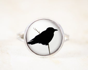 Crow Ring - Crow Silhouette Jewelry, Black Bird Ring, Gothic Crow Jewelry, Gothic Raven Crow Photo Jewelry, Raven SiIlhouette Ring Gift