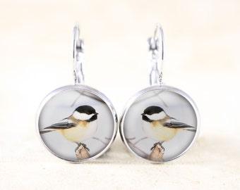 Winter Chickadee Earrings - Silver Bird Jewelry, Chickadee in Snow, Chickadee Jewelry, Silver Bird Earrings, Chickadee Bird Jewellery