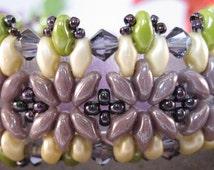 Superduo Bead Bracelet, Super Duo Beaded Bracelet, Beadweave Bracelet, Swarovski Crystal Bracelet, Glass Bracelet, Purple Bead Bracelet