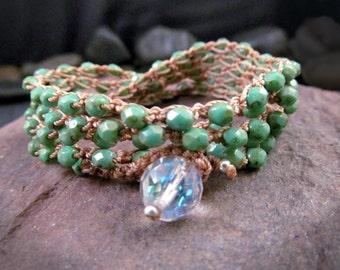 Bohemian Crochet Jewelry Wrap, Turquoise, Southwestern, HIppie Chic