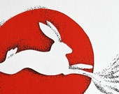 Rabbit Paper Cut, white in red circle, 8.3 x 11.7 inches