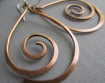 Copper Hammered Earrings/ Copper Wire Earrings/ Big Copper Earrings/Artisan Earrings/ Tribal Earrings