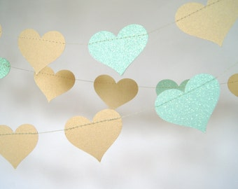 Gold and Glitter Mint Heart Paper Garland, Double-Sided, Bridal Shower, Baby Shower, Party Decorations, Birthday Decoration