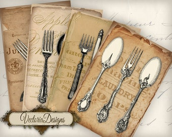 Vintage Cutlery Papers 6 x 4 inch printable images instant download digital collage sheet VD0662