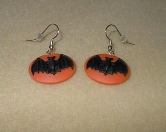 Bat Cameo Earrings/Halloween Earrings/Pierced earrings/Bat cameo halloween earrings