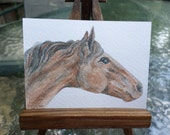 ACEO miniature painting water color  brown horse  aceo23