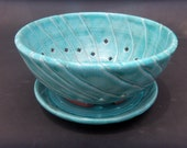 Pottery Berry Bowl - Turquoise  Glazed Terracotta