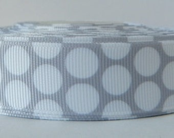 Grey 22mm Polka Dot Grosgrain Ribbon