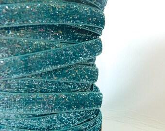 Frozen Blue 9mm Glitter Velvet Ribbon