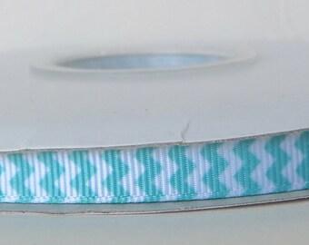 Mint 9mm Mini Chevron Grosgrain Ribbon