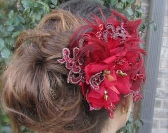 Wedding headpiece red feathers flower fascinator