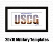 INSTANT DOWNLOAD : military word block art 20 x 10 PSD template // uscg // army // usaf //  marines // navy