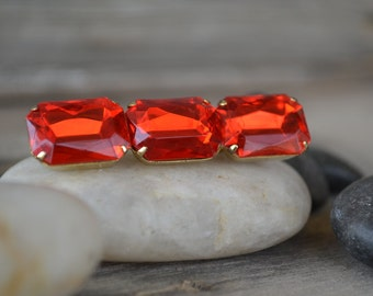 1980's Red Jeweled Rod Brooch