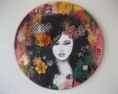 Black Haired Beauty, Colorful Painting, Round Painting, Mixed Media, Girl Art, Mixed Media Canvas, Girl Art Painting, Colorful Flowers