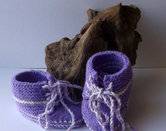 Hand knitted lilac / white baby girls trainer style shoes / booties. 6 - 12 months.