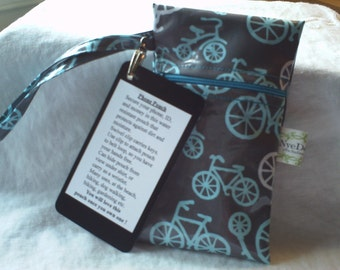 Michael Miller Bicycles Grey Laminated Phone Pouch (no HipKlip)