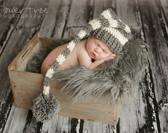 Newborn Elf Hat, Gray And Cream Stripe Hat, Newborn Girl Hat, Newborn Boy Hat, Newborn Photo Prop, Stocking Cap, Mr Sandman Hat, Pom Pom Hat
