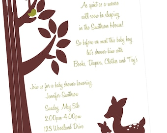 Willow Deer Baby Shower Invitation-Printed