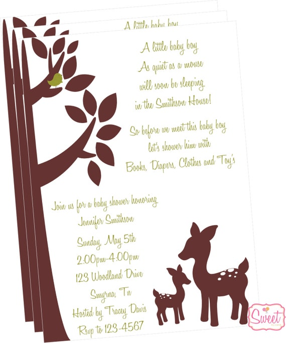 willow deer baby shower invitation printed by sweet by candy catch