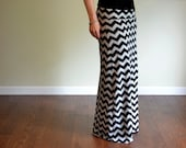 Maxi Skirt, Chevron Print, Women's Long Maternity - Kamiann