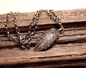 Handmade sterling feather pendant necklace
