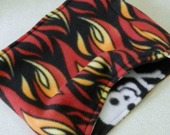 Hot Flame Scarf Boys Fleece Loop Scarf Reversible Flames and Black Skull and Crossbones Neck Warmer Scarf