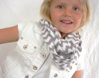 Infinity Scarf for Girls Gray and White Chevron Cotton Knit Scarf by Thimbledoodle