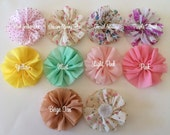 "4 Chiffon Fabric Flowers 2.5"" Twirl pleated Ballerina flowers (4 count) YOU PICK COLORS - Vintage Floral Prints and Solids - naked ballerina"