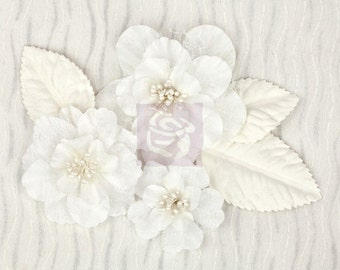 White fabric flowers - Prima Wishes & Dreams 970819 Fiber Mesh  fabric flowers with stamens and Leaves - corsage flowers headband flowers