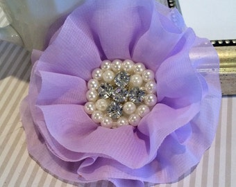 Lavender  Fabric Flowers - 3.5' soft chiffon layered fabric flowers with rhinestone pearl centers Hair hat boutique wedding flowers Lorna