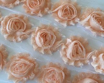 "Light Peach Shabby Rose Trim 2.5"" Shabby Flowers Shabby Chiffon Flowers  Solid Shabby Chic Trim Wholesale Rosette trim 6cm 1 yard peach #202"