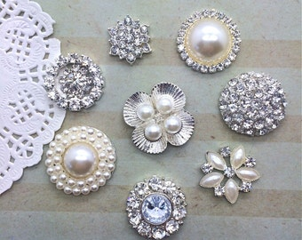 Crystal rhinestone pearl embellishment accent flat back (8 pcs assorted mix)  bridal wedding accessories vintage button flower centers