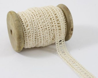 Ivory Cream cotton Lace Trim  ribbon  1/2 inch width  x 10 yards on vintage wooden spool - ivory cream cotton  lace ribbon trim   AL4502