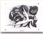 YOGA ART Greeting Card WARRIOR 1 Pose  - 5x7 from Original Ink Drawing, Home Decor, Yoga Studio Decor