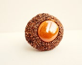 berbere, ooak adjustable polystyrene and glass ring, in orange hues