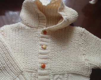 Baby  Merino 8 ply DK warm cream Hooded Jacket  / Sweater Age 1 -  2 Years  Hand Knitted in Scotland