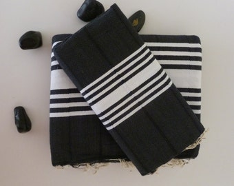 Turkish Towel, home-garden / bath-beauty Peshtemal handmade Natural Soft Cotton Beach Hammam, gift, for men, man, beach, spa, black